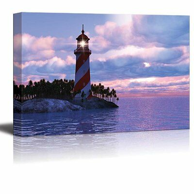 """Canvas - Scenery of Dramatic Sunset with Lighthouse on Island in Sea- 16"""" x 24"""""""