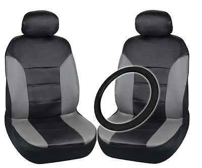 Black & Gray PU Leather Car Seat Covers & Steering Wheel Cover Front Pair Set