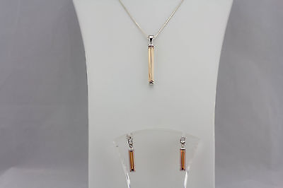 925 Sterling Silver and Apricot Citrine Bar Pendant and Earrings Set