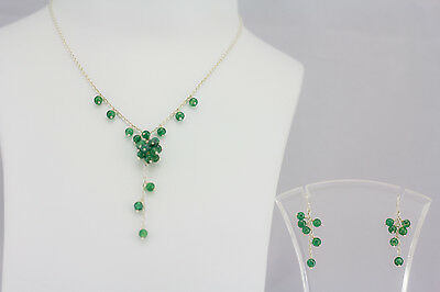 Dark Green Agate Necklace and Earring 925 Sterling Silver Set