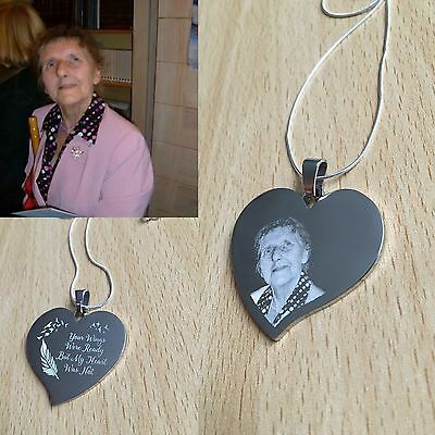 Photo Engraved Personalised Memorial Funeral Gift New Special Heart Pendent
