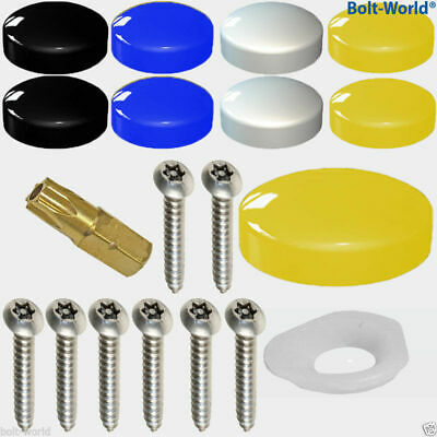 320 x NUMBER PLATE FIXING SECURITY SCREWS COVER KIT BLACK WHITE YELLOW BLUE CAPS