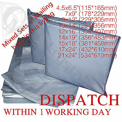 Mixed Strong Grey Mailing Post Poly Postage Bags 10x14 12x16 Self Seal Cheap 4U