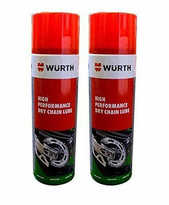 Wurth High Performance Dry Chain Lube Motorcycle Bike Spray 500 ML x 2 NO MESS