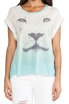 Wildfox Couture Perfectomundo Pointe top t shirt gray//green  new tequila agave l