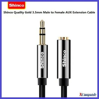 Shinco Gold Plus 3.5mm Male to Female M-F Aux Stereo Audio Extension Cable 1-2m