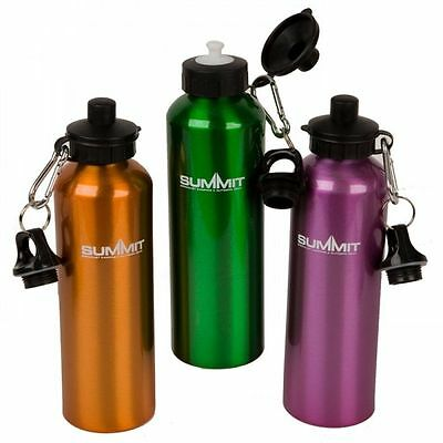 Summit Camping Hiking Metal Aluminium Sports Water Bottle with 2 Lids - 750ml