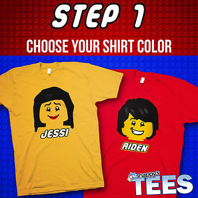Personalized - Build Your Own LEGO Tee - Kids Party Theme Graphic T-Shirt