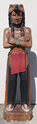 """Cigar Store Indian with Bear Headdress, Hand Carved Wood, 70"""" tall, sns153"""