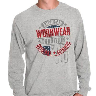 American Workwear Tradition Original USA Long Sleeve T-Shirts Tees For Men