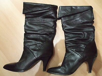 Used Ladies 1980's Retro Leather Boots Black Size 37 (4) Made in Brazil