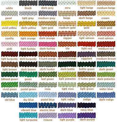 12mm Swirl Braid Gimp Upholstery Soft Furnishing Blinds Crafting Trim 68 colours