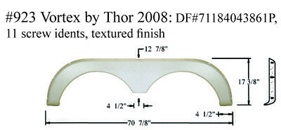 Thor Cruiser Fun Finder RV Fender Skirt Fiberglass #1155 Polar White