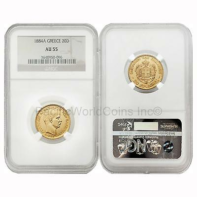 Greece 1884A 20 Drachma Gold NGC AU55