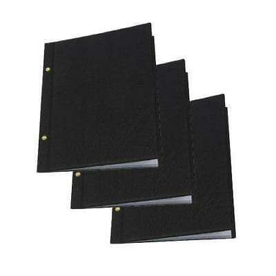 5 x Classic Menu Cover with Brass Interscrews, Black A4 10 Pockets, Restaurant