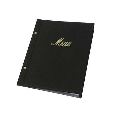 Classic Menu Cover with Brass Interscrews, Black A4, Gold Text, 10 Pockets