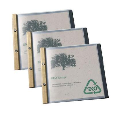 5 x EKO Square Folder, Timber Trim, 5 Pockets, Restaurant Menu / Eco Friendly