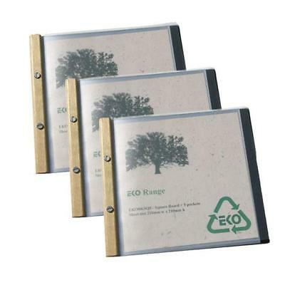20 x EKO Square Folder, Timber Trim, 5 Pockets, Restaurant Menu / Eco Friendly