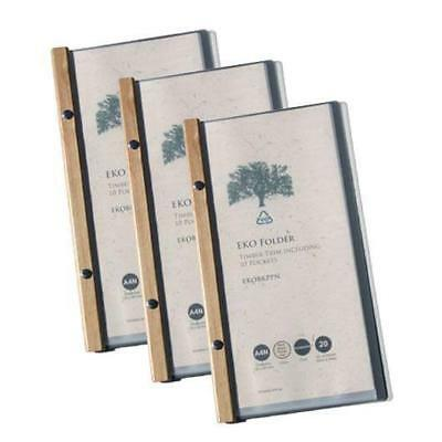 5 x EKO Narrow Folder, Timber Trim, 10 Pockets, Restaurant Menu / Eco Friendly