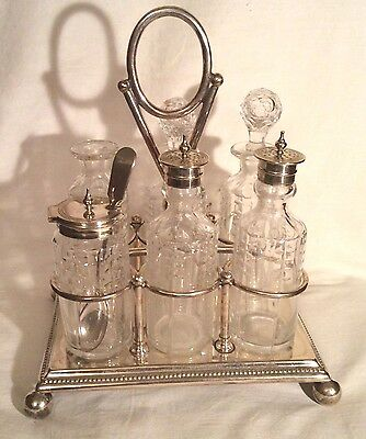 Antique Walker & Hall, England Silver SP Crystal 6 pcs Condiment Set