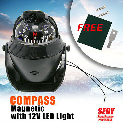 Compass Illuminated 12V Led Caravan Marine Boat Car Trucks Navigation Black L