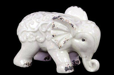 Elephant Figurine with Embossed Swirl Design Distressed Gloss Finish White New