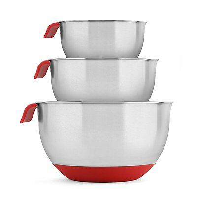 Blümwares 18/10 Stainless Steel Mixing Bowls with Handle and Spout (Red) BOL