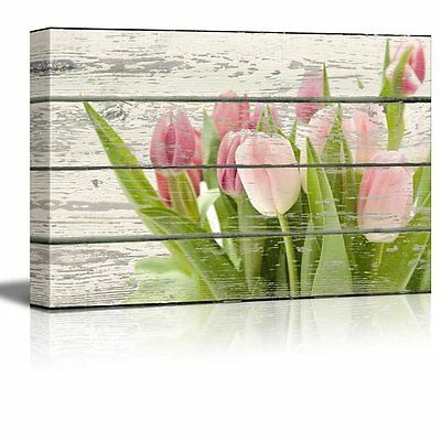 Pink and Green Tulips Flowers Artwork - Rustic Canvas Wall Art Home Decor -16x24
