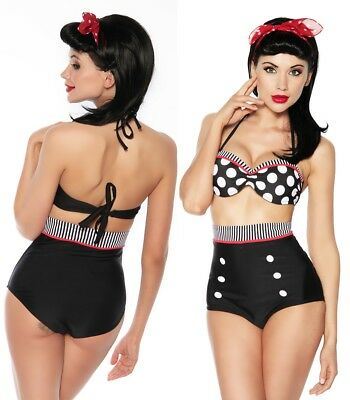 Vintage Push Up Bikini Retro Pin Up Badeanzug Rockabilly High Waist Bademode M