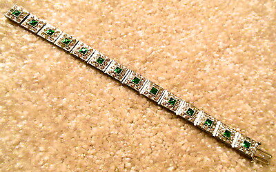 Antique 1920s Art Deco ALLCO Emerald Glass & Rhinestone Bracelet 7 1/4""