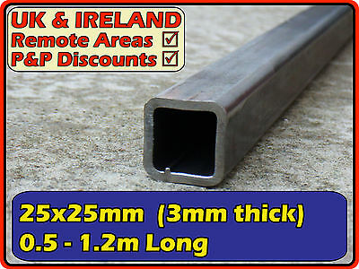 "Mild Steel Square Tube (box iron, section) | 25x25mm (1"") 25mm 3mm 