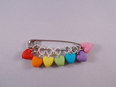 Knitting stitch markers, set of 7, Rainbow Hearts