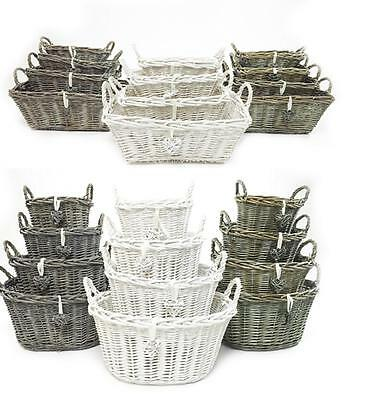 White Grey Shabby Chic Wicker Kitchen Fruit Storage Baskets Xmas Hamper Basket