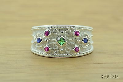 Etruscan Ruby Sapphire Byzantine Band Cz Ring Sterling Silver Greek Jewelry Art