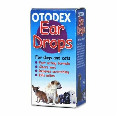 Petlife Otodex Veterinary Ear Drops for Pet Dog Cat Kills Mites Clears Wax 14ml