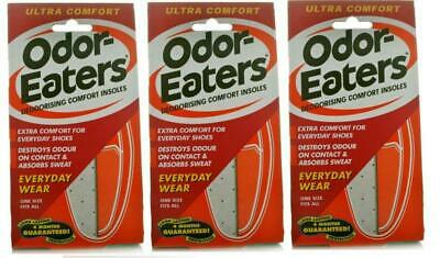 3 x Odor-Eaters ULTRA COMFORT Deodorising Comfort Insoles **Free Delivery**
