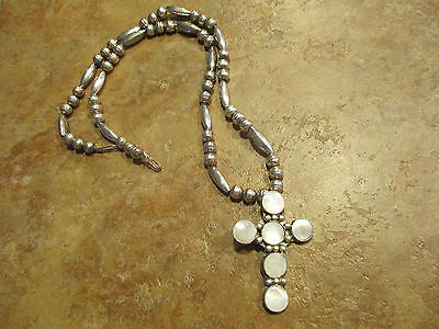 """Older VINTAGE Navajo Sterling Silver Inlay MOTHER of PEARL Cross Necklace    24"""""""