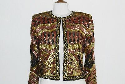 Jasdee Vintage Beaded & Sequins Jacket Hand Work Blk/Copper/Gold Style 9930
