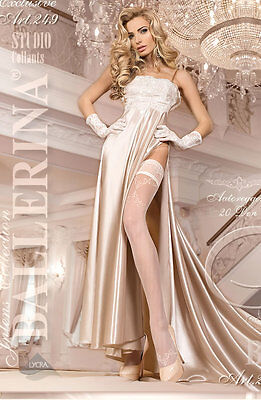 BALLERINA Luxury Super Fine Sheer Lace Top Patterned Hold Ups with Lycra
