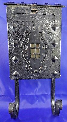 Vintage Wall Mount Black Metal Mailbox Tilt Out Door, Slot, Rack, Window 15""