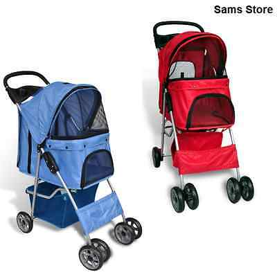 Pet Stroller Pushchair Dog Cat Transport Buggy Protect Wind Rain Walk Blue Red