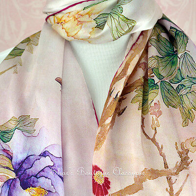 100% Real Genuine Pure Mulberry Silk Long Scarf Floral Pink Shawl Wrap Stole New