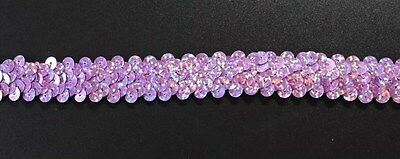 Dance Costume Elastic Sequin Trim - 2 rows STRETCH Lilac Laser 1m