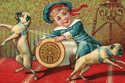 Merrick Thread Odd Sailor Boy Tied Up Pug Dogs Giant Spool Victorian Card L9