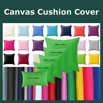 Solid Colour Cotton Canvas Cushion Cover Home Decor Throw Pillow Case Lounge
