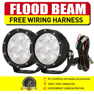 5'' 21600W Round NEW CREE LED Driving Work Spotlights Offroad 4WD Black HID Jeep