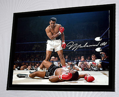"""Muhammad Ali Large Canvas Tribute Framed Print Signed """"Great Gift & Souvenir"""""""