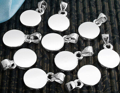 """Glue on Pad Pendant Bails Silver Plated Round Jewelry Making 0.4"""" HOT 10x/set"""