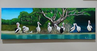 Art Original Oil painting Pelican lovely wild nature. by sunlover.