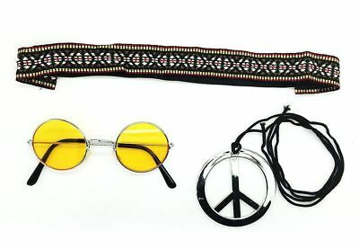 Yellow - Hippie Headband & Glasses Kit Mens Ladies Unisex Fancy Dress 60/70s kit